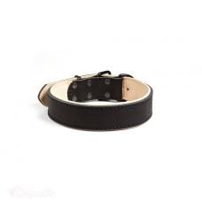 Гросс - ошейник кожаный с мягкой бежевой подкладкой
