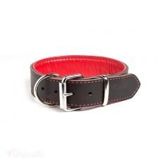 Остин - ошейник кожаный с мягкой красной подкладкой