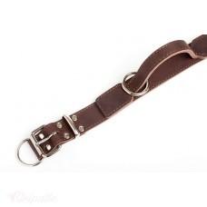 Портер - ошейник кожаный с ручкой, с мягкой бежевой подкладкой